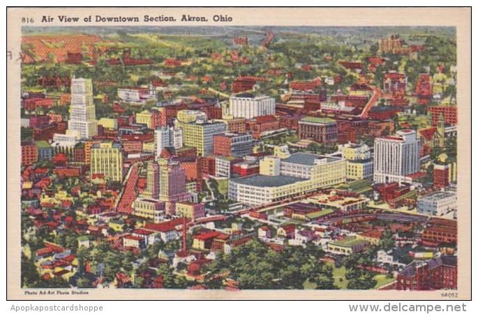 Ohio Akron Aerial View Of Downtown 1951