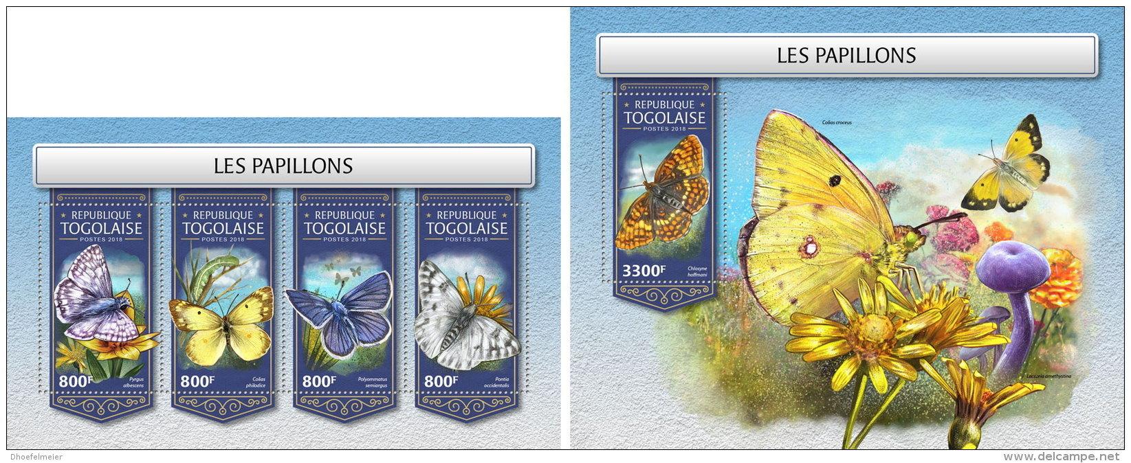 TOGO 2018 MNH** Butterflies Schmetterlinge Papillons M/S+S/S - OFFICIAL ISSUE - DH1813 - Schmetterlinge