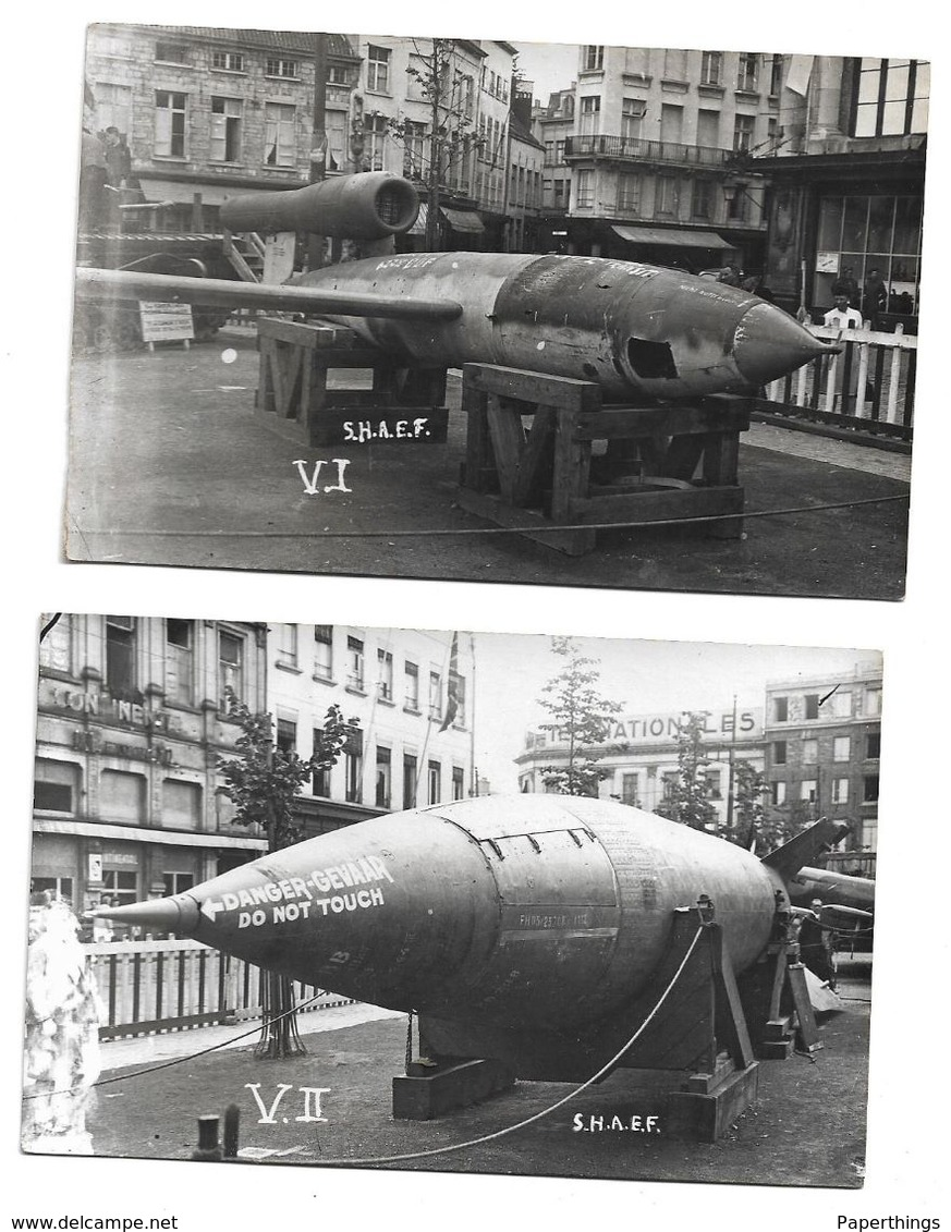Two Photographs, German, V - 1 And V - 2,  Flying Bombs Shaef. - War 1939-45