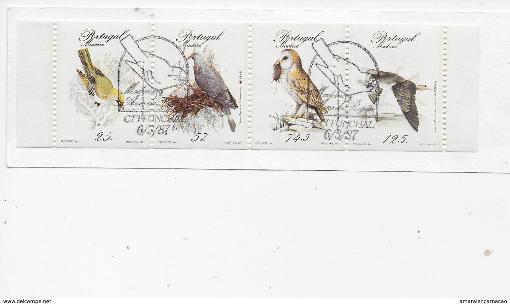 TIMBRES- STAMPS-  PORTUGAL (MADEIRA) -1987-OISEAUX -CARNET AVEC SÉRIE TIMBRES OBLITERÉ CACHET 1er. JOUR - FUNCHAL - RARE - Oblitérés