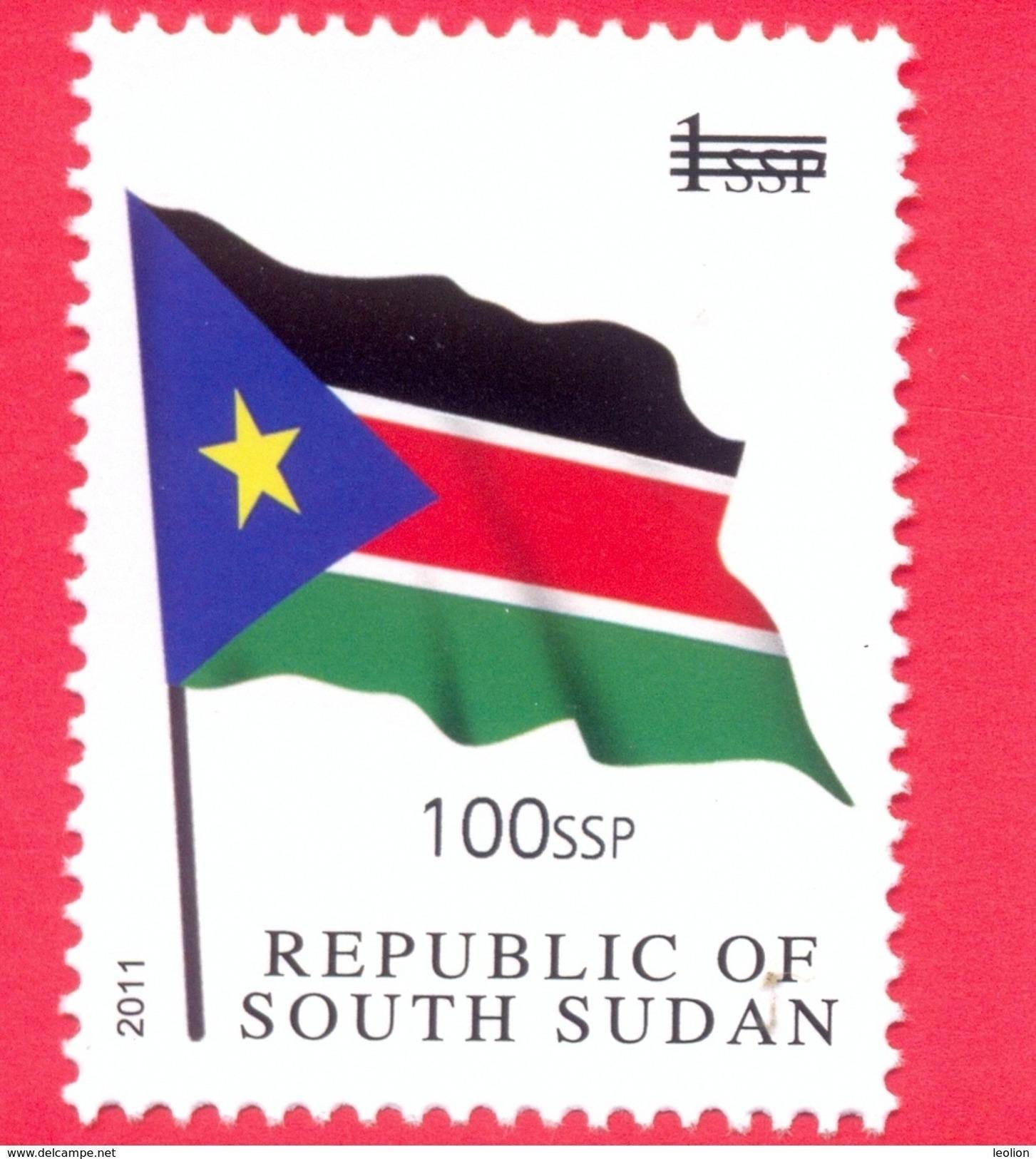 SOUTH SUDAN Surcharged Overprint 100 SSP (thin) On 1 SSP National Flag Stamp Of The 1st Set SOUDAN Du Sud Südsudan - Sud-Soudan