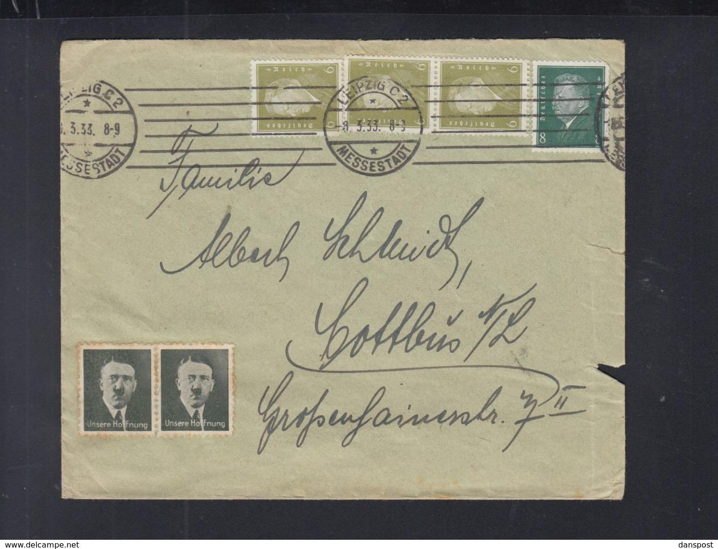 Dt. Reich Brief 1933 Leipzig Hitler Vignette - Germania
