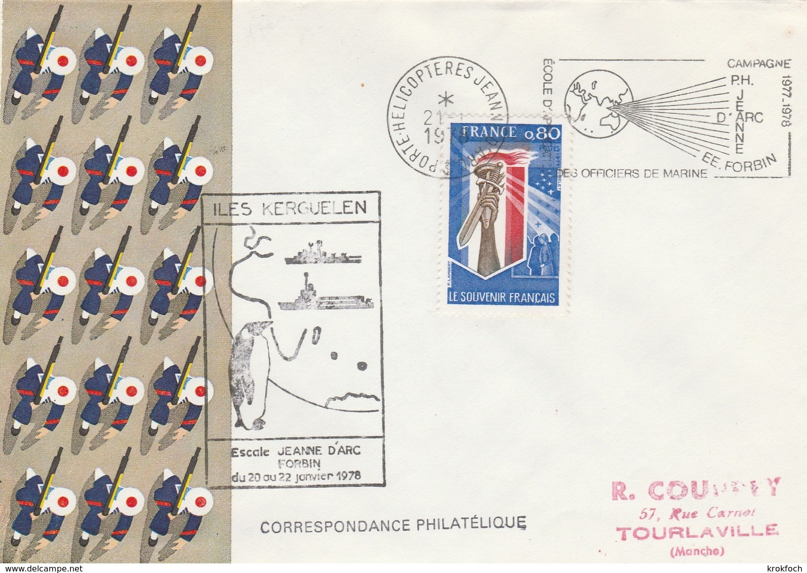 Kerguelen 1978 - Escale Porte-hélicoptères Jeanne D'Arc - Poste Navale Navy - TAAF - French Southern And Antarctic Territories (TAAF)