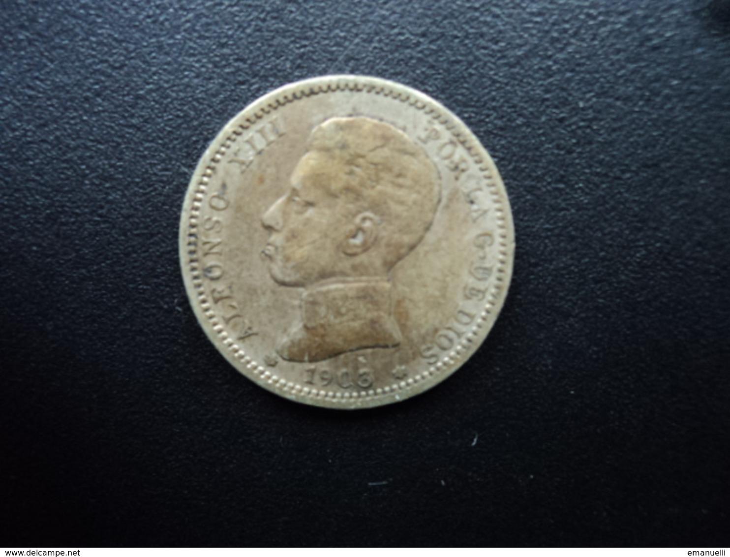 ESPAGNE : 1 PESETA  1903  SM-V   KM 721    TB+ / B * - [ 1] …-1931 : Royaume