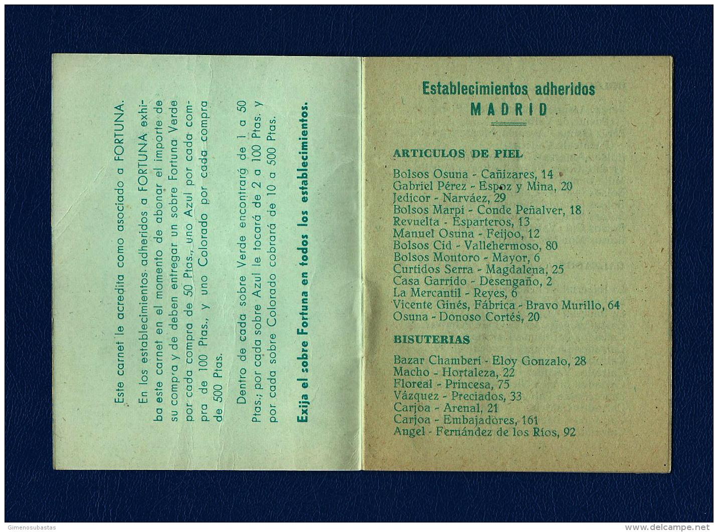 Antiguo Carnet De Comprador FORTUNA (Madrid) - Documentos Antiguos