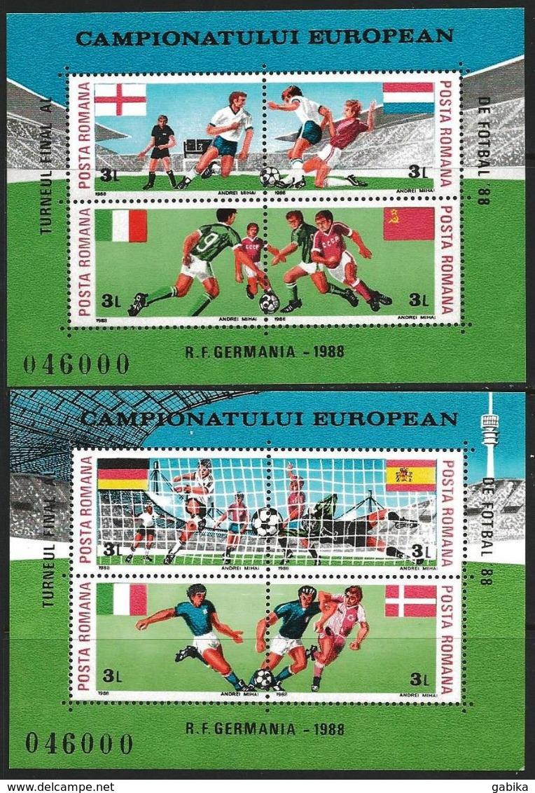 Romania 1988 Scott 3523A-3523B MNH European Soccer Shampionships Germany - Nuovi