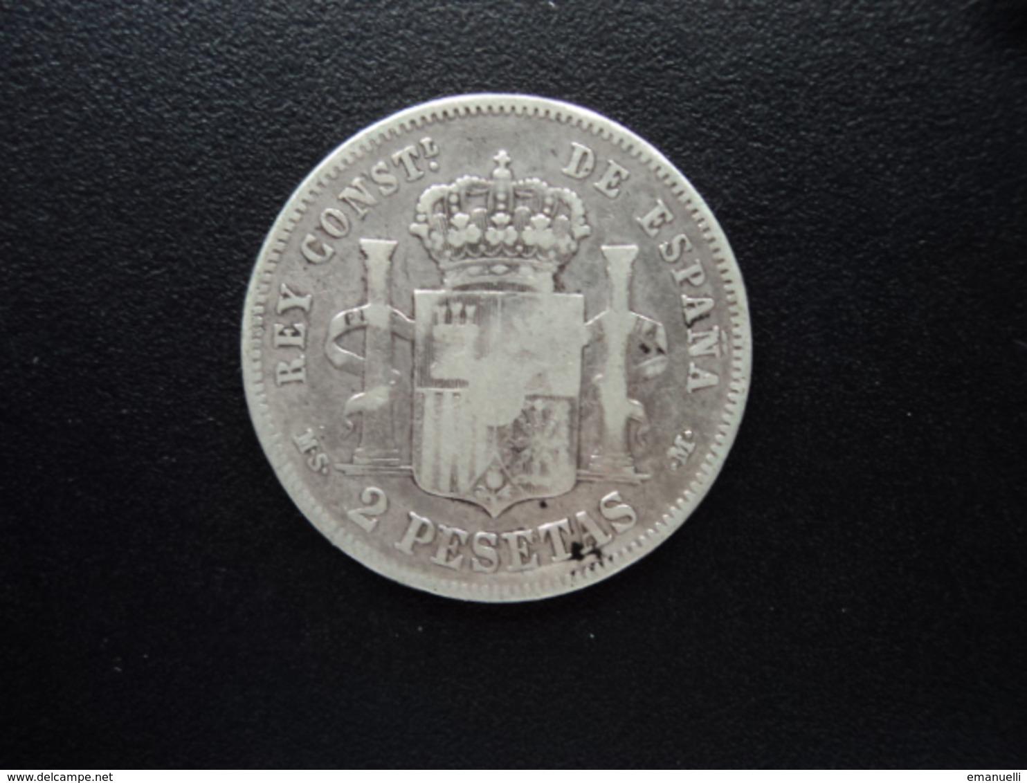 ESPAGNE : 2 PESETAS  1882 (18) (82)  MS - M   KM 678   B / B+ - [ 1] …-1931 : Royaume