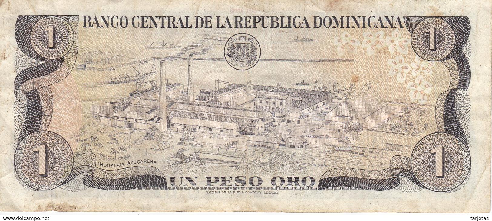 BILLETE DE LA REPUBLICA DOMINICANA DE 1 PESO ORO DEL AÑO 1982  (BANKNOTE) - República Dominicana