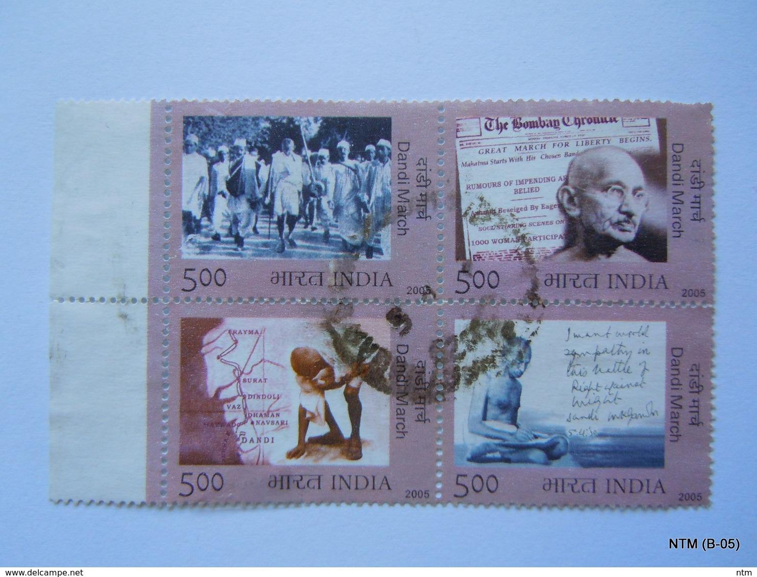 INDIA (2005) Mahatma Gandhi, 'Dandi March', Set Block Of 4. Used SG 2266-2269 - Hojas Bloque