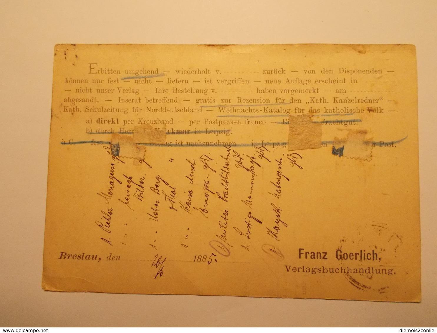 Marcophilie  Cachet Lettre Obliteration Timbres - ALLEMAGNE - Brelau - 1885 (1965) - Briefe U. Dokumente
