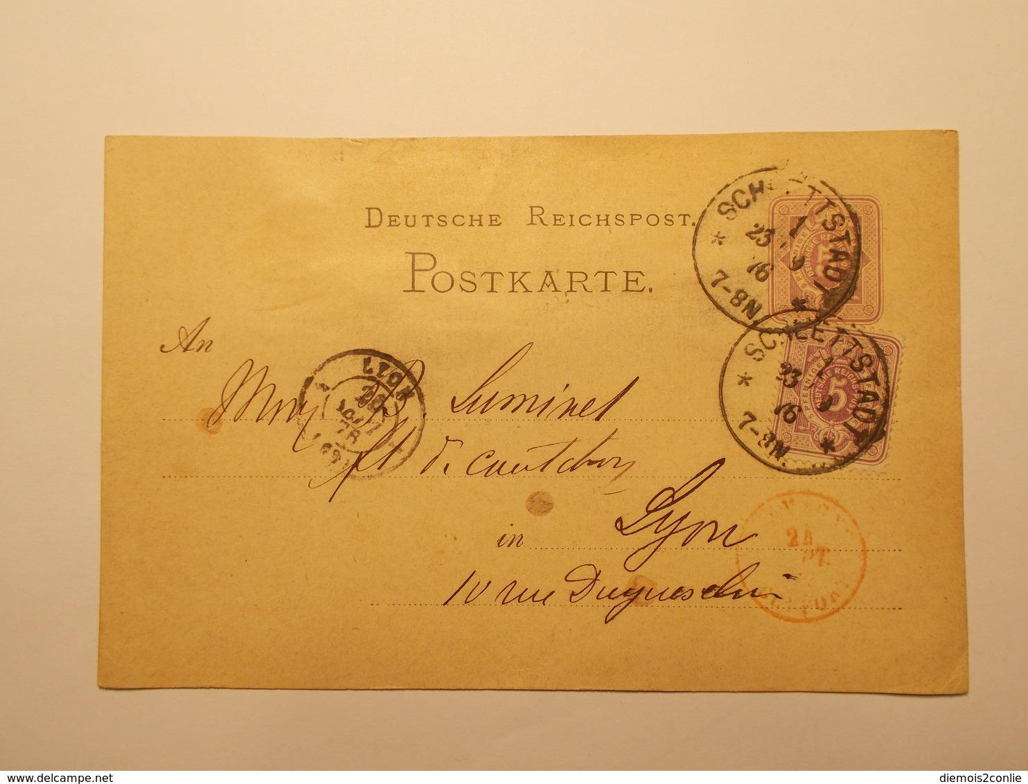 Marcophilie  Cachet Lettre Obliteration Timbres - ALLEMAGNE - Schlettstadt - Entier Postal - 1876 (1970) - Allemagne
