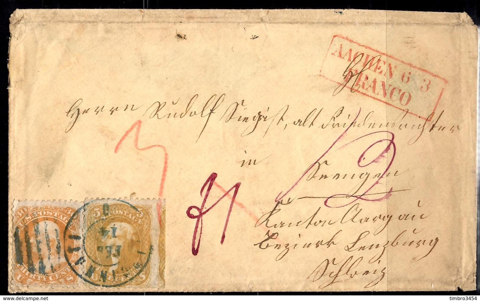 Etats-Unis Lettre Ancienne Affranchie Avec YT N° 20 Et 25 Pour L'Allemagne. Rare! A Saisir! - 1847-99 Emissions Générales