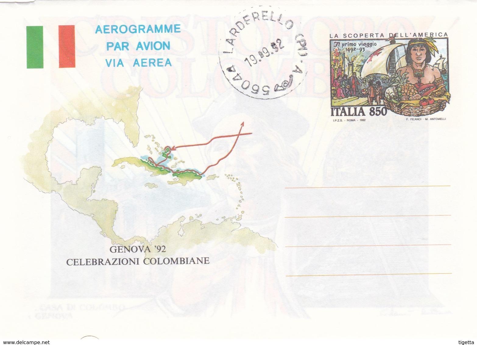 ITALIA REPUBBLICA AEROGRAMMA L. 850 GENOVA 92 CELEBRAZIONI COLOMBIANE ANNO 1992 - 6. 1946-.. Repubblica
