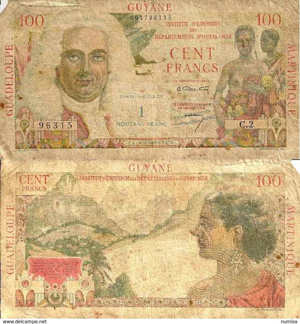 ANTILLES FRANCAISE - FRENCH ANTILLES - 1 N - Franc Sur 100 Fr 1961 - Pick 1 - Aruba (1986-...)