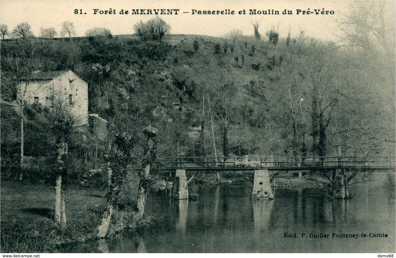 MERVENT Forêt De .. Passerelle Et Moulin Du Pré-Véro - France