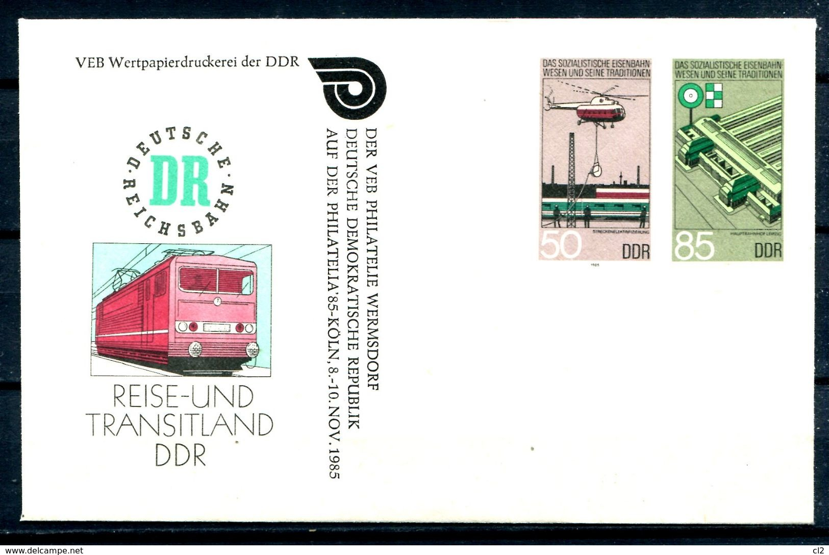 REPUBLIQUE DEMOCRATIQUE ALLEMANDE - Ganzsache Michel U3 Mit Privatzudruck (PHILATELIA 85 KOLN) - Private Covers - Mint