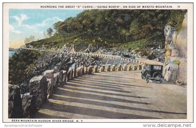 "New York Bear Mountain Hudson River Bridge Rounding The ""S"" Curv"