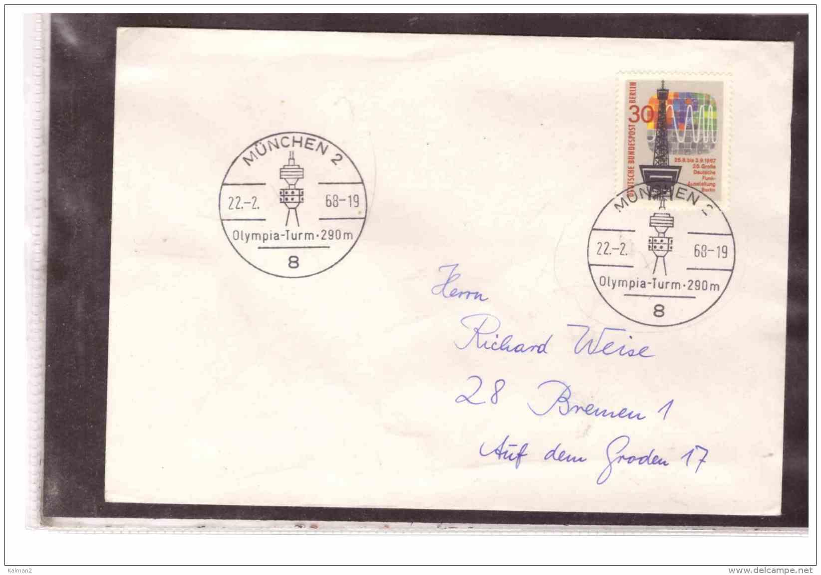 TEM10012   -   MUENCHEN  22.2.1968   /     OLYMPIA-TURM  290 M.  - - Francobolli