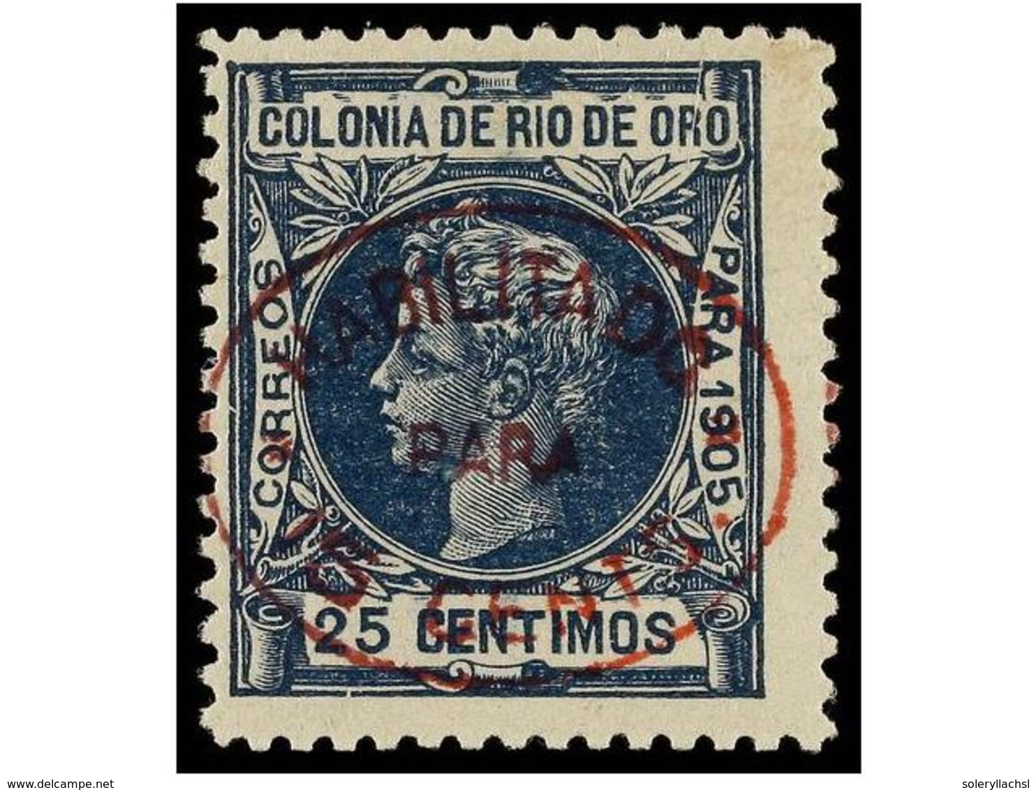 1104 * COLONIAS ESPAÑOLAS: RIO DE ORO. Ed.17. <B>15 Cts. S. 25 Cts.</B> Azul. Habitual Centraje. Cat. 340?. - Stamps