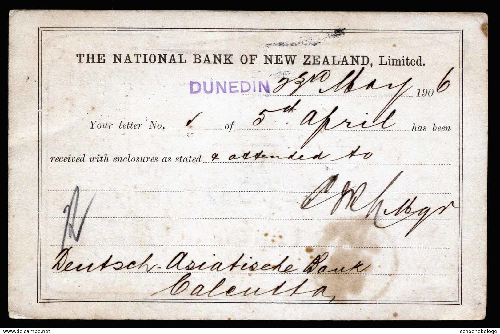 A5370) Neuseeland New Zealand Bankkarte 23.05.06 N. Calcutta / India - Briefe U. Dokumente