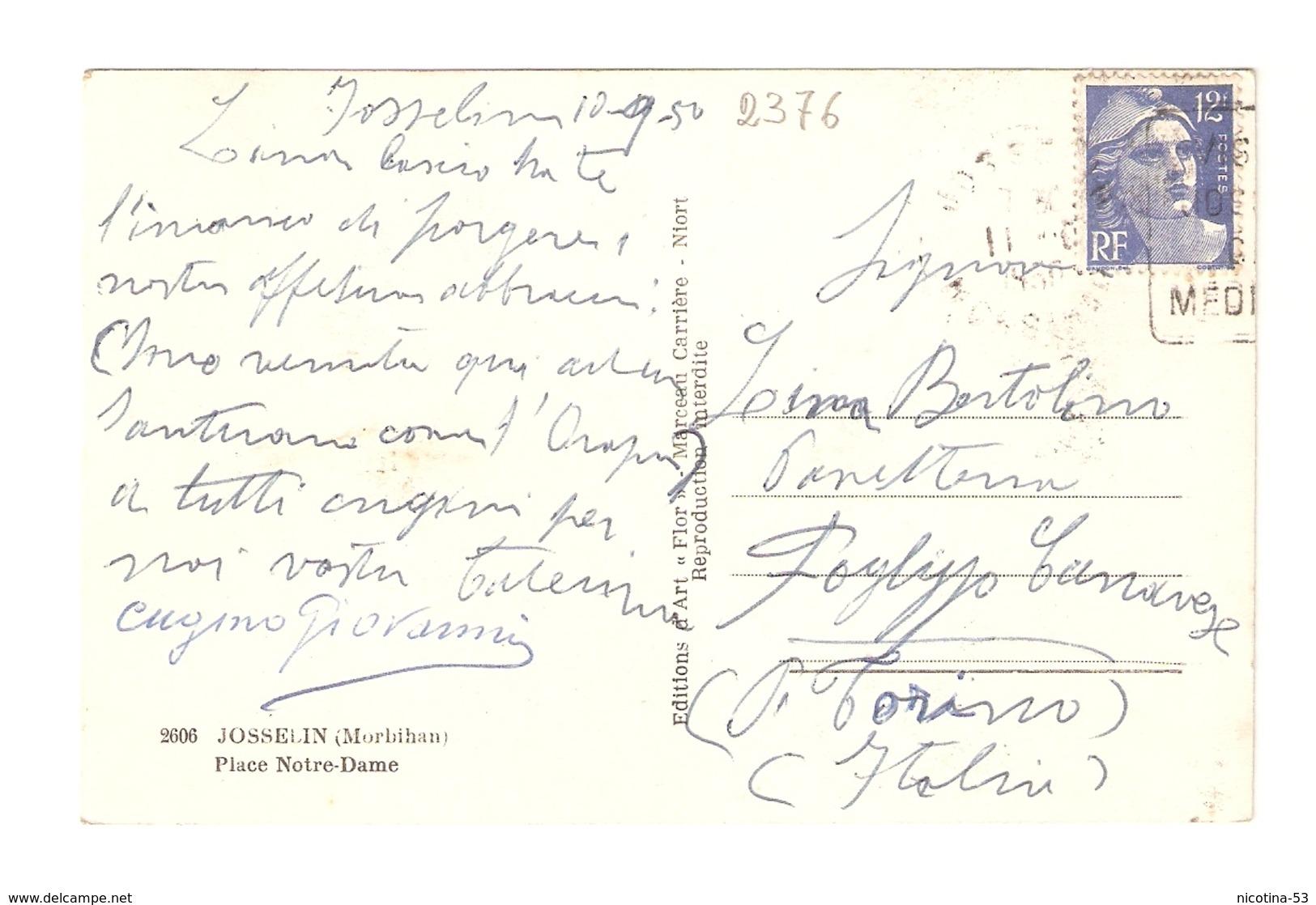 CT--02376-- JOSSELIN- (MORBIHAN) PLACE NOTRE DAME- VIAGGIATA 1950 - Josselin