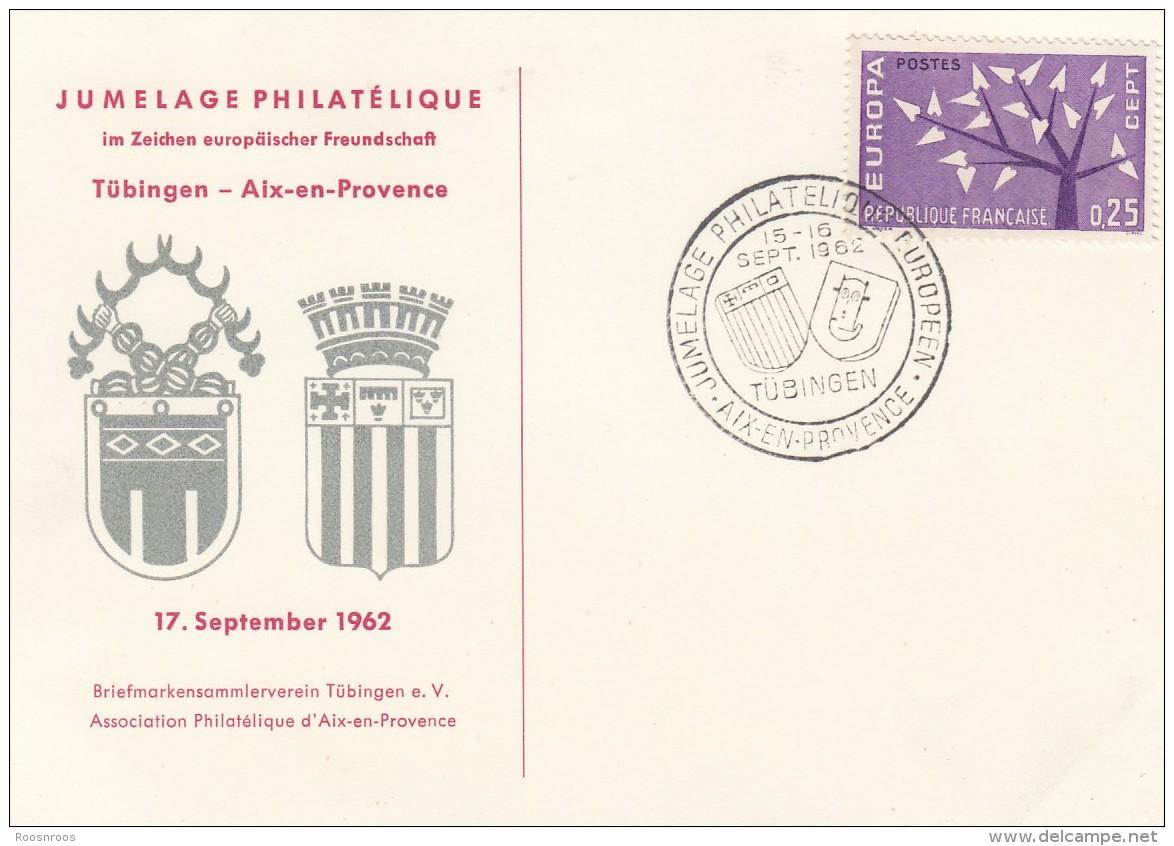 CARTE JUMELAGE PHILATELIQUE AIX EN PROVENCE TUBINGEN 1962 EUROPAISCHER FREUNDSCHAFT - FDC