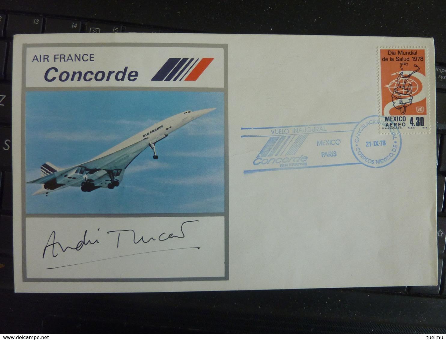 Andre Turcat Hand Signed Concorde Rare FDC Air  Pilot Autographed AUTOGRAPHE SIGNE 1978 MEXICO WASHINGTON VOL INAUGURAL - Autographs