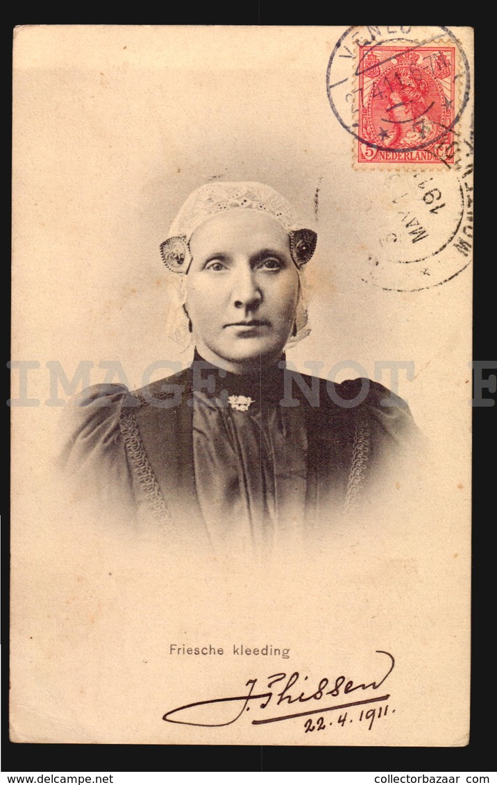 Friesche Kleeding Woman Costumes Protestant Venlo Used In 1911 W4-4222 - Holanda