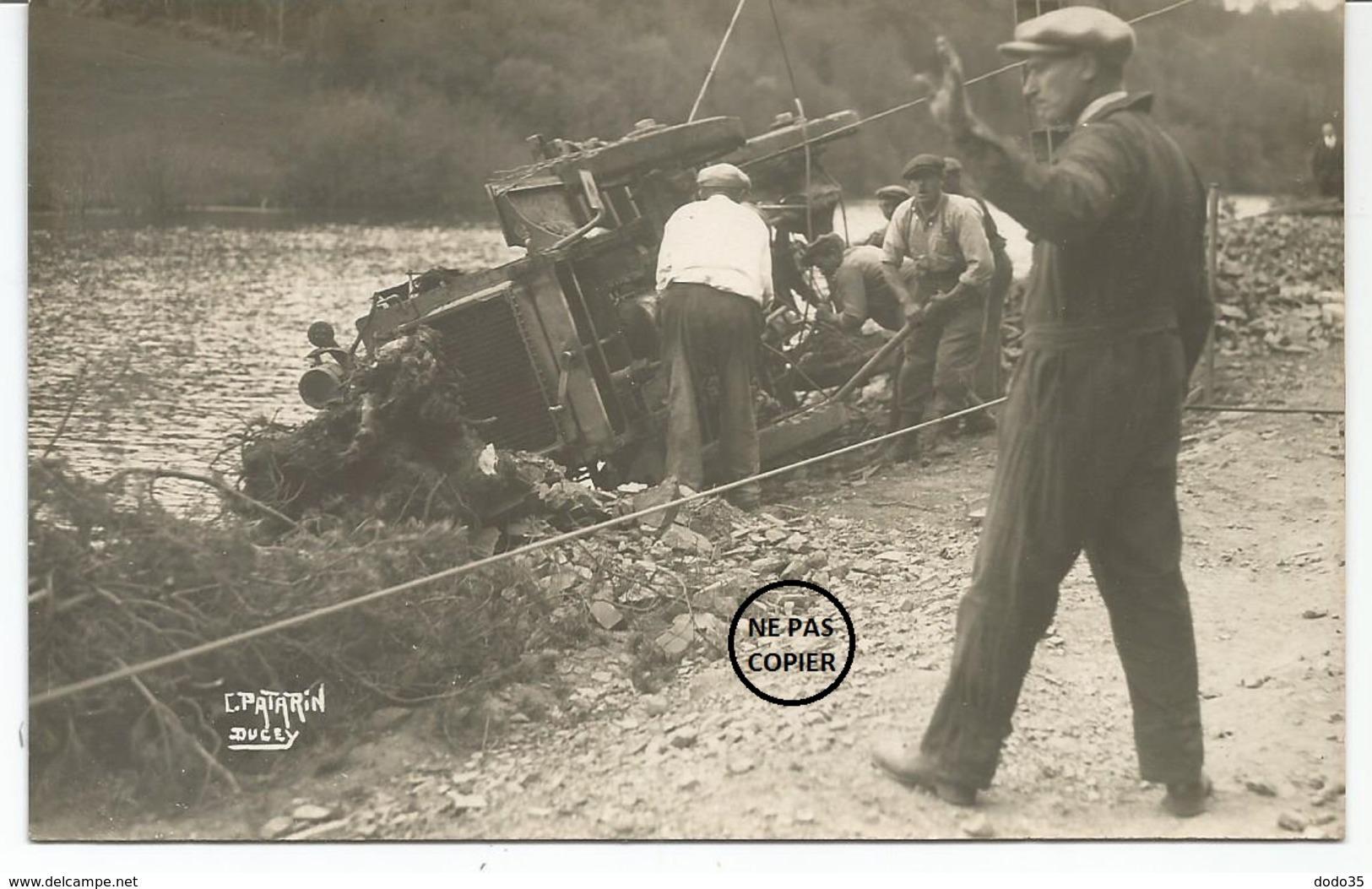 DUCEY VEZIN Barrage. CARTE PHOTO. Relevage D'un Camion Après Accident. Cliché Patarin à Ducey. - Ducey
