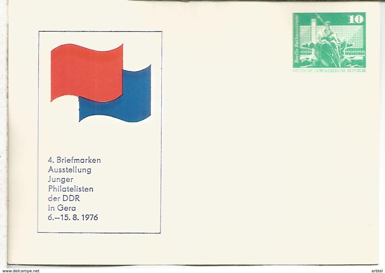ALEMANIA DDR ENTERO POSTAL EXPOSICION GERA 1976 - [6] República Democrática