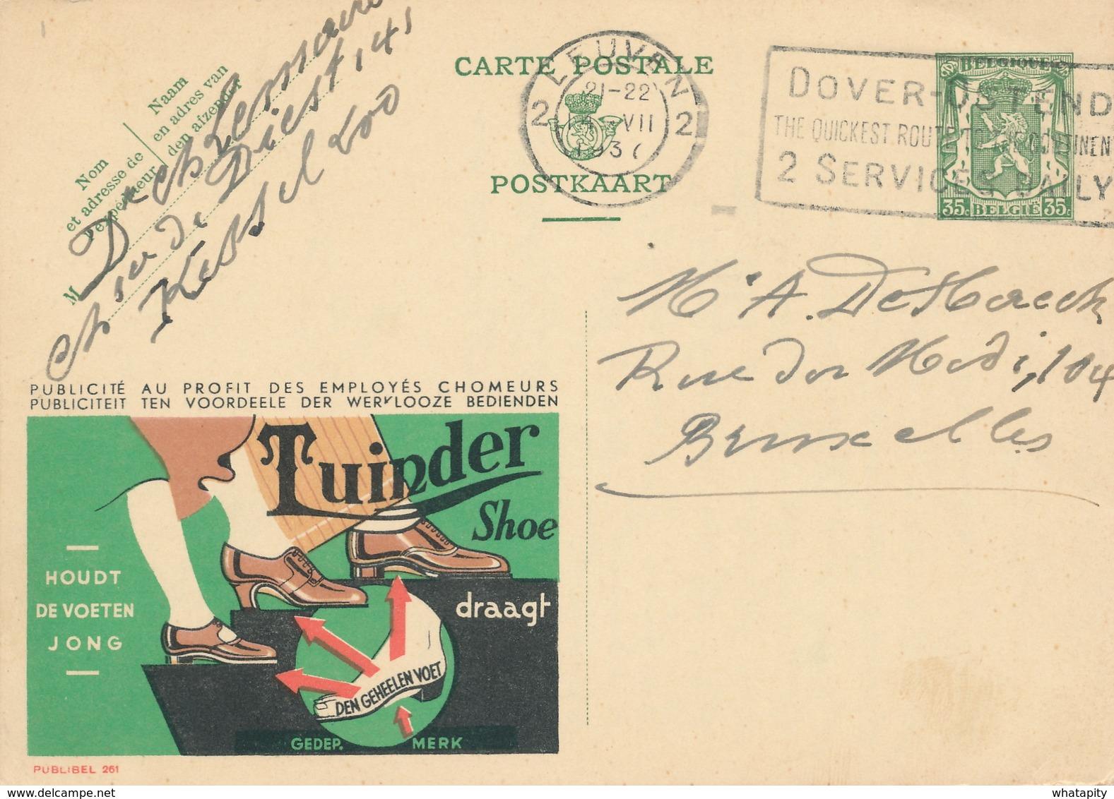 XX914 -- Entier Publibel 261 LEUVEN 1937 - Tuinder Shoe - Enteros Postales