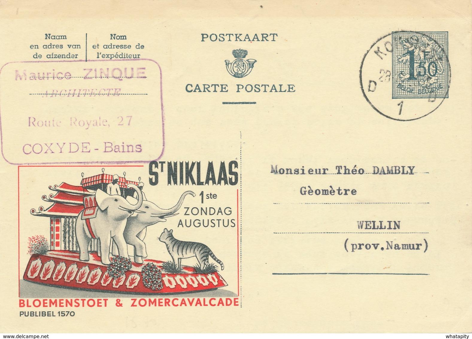 XX919 -- Entier Publibel 1570 KOKSIJDE 1958 - St Niklaas Bloemenstoet § Cavalcade - Stamped Stationery