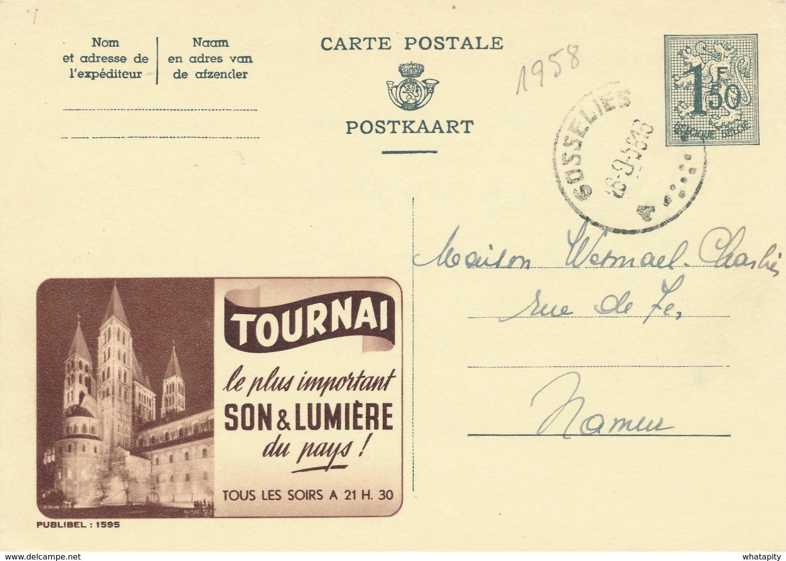 XX920 -- Entier Publibel 1595 GOSSELIES 1958 - Tournai Son § Lumière - Stamped Stationery