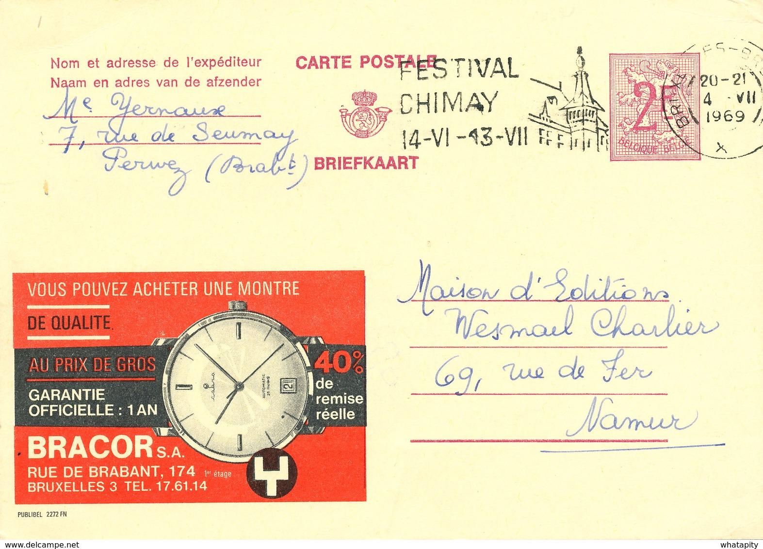 XX921 -- Entier Publibel 2272 FN Bruxelles 1969 - Bracor , Montre Au Prix De Gros - Stamped Stationery