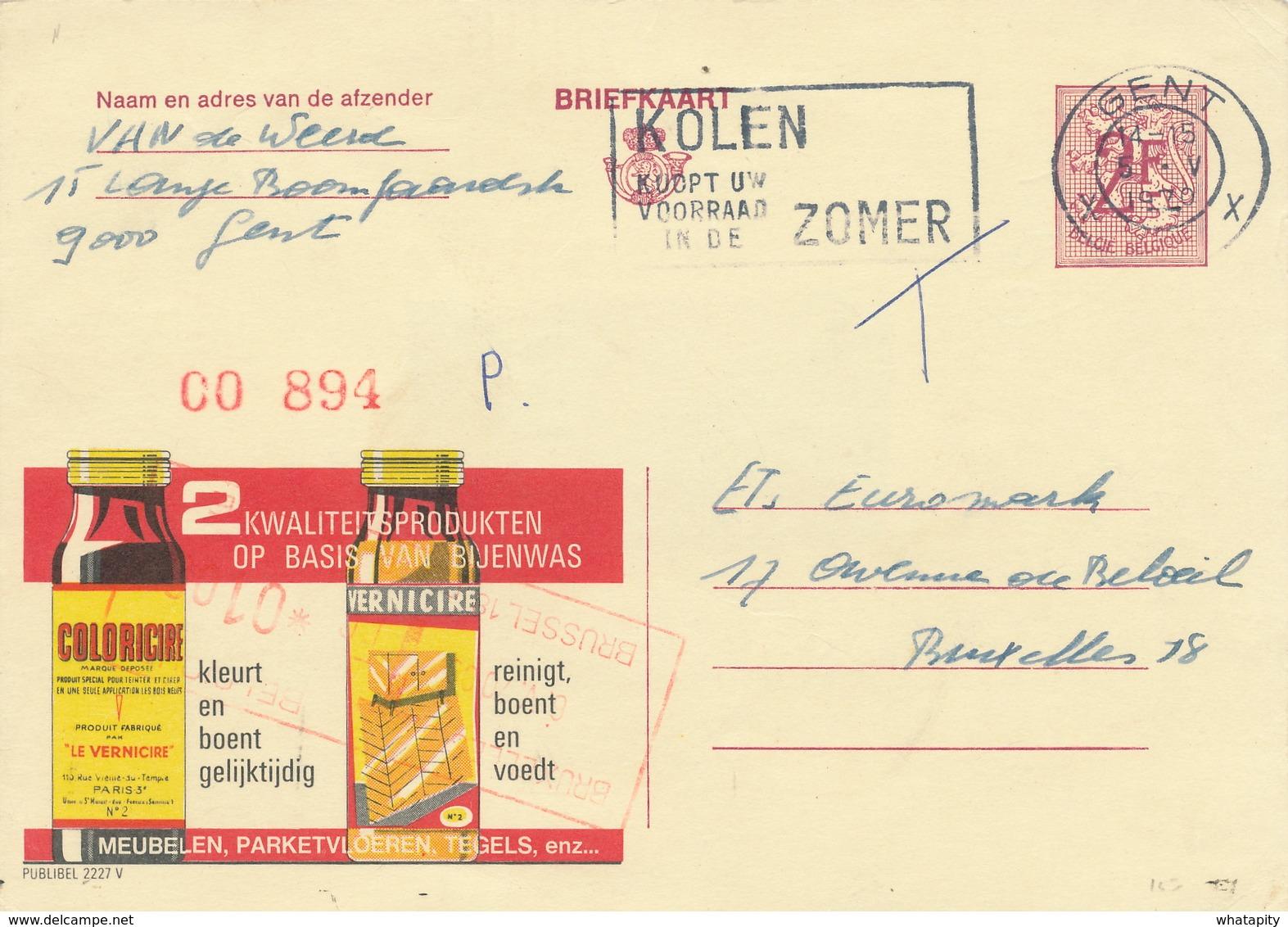 XX923 -- Entier Publibel 2227V GENT 1970 -  Cire D' Abeilles Vernicire Paris - Enteros Postales