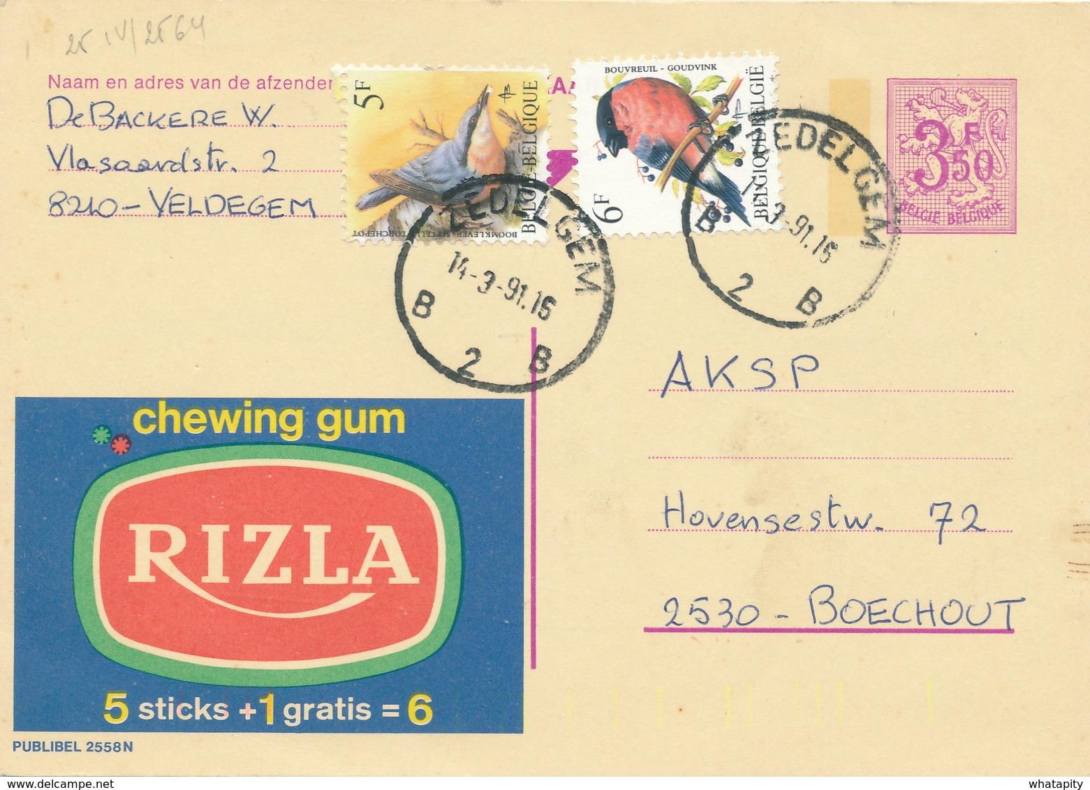 XX926 -- Entier Publibel 2558N + 2 TP Oiseaux Buzin ZEDELGEM 1991 -  Bel Affranchissement - Enteros Postales