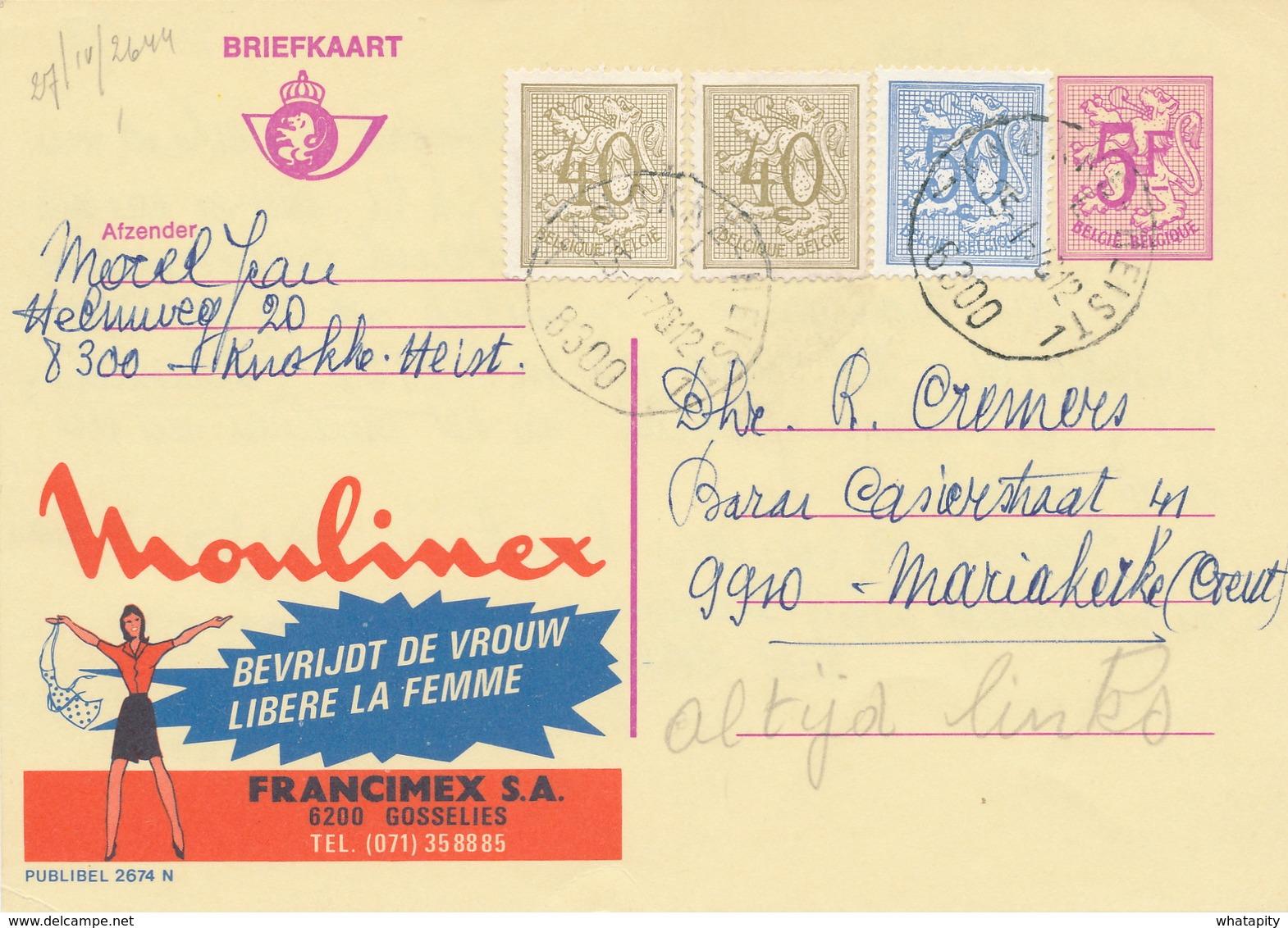 XX928 -- Entier Publibel 2674N + TP Lions Héraldiques KNOKKE HEIST 1978 - Moulines - Stamped Stationery