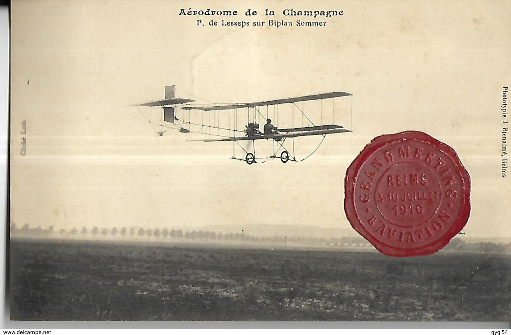 Aérodrome De Champagne   P. De Lesseps  Sur  Biplan Sommer CACHET DE CIRE   CPA 1910 - Aérodromes