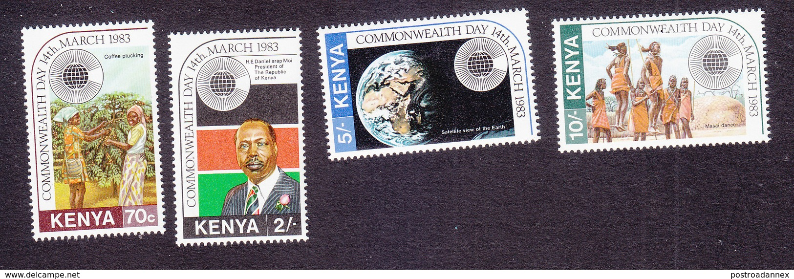 Kenya, Scott #243-246, Mint Hinged, Commonwealth Day, Issued 1983 - Kenya (1963-...)