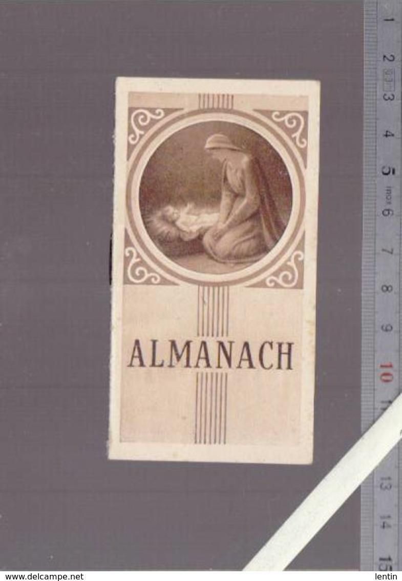 Petit Almanach Calendrier  1946 - La Vierge Et L'Enfant - Religion Catholique   - 9.5 X 5.5 Cm - Calendriers