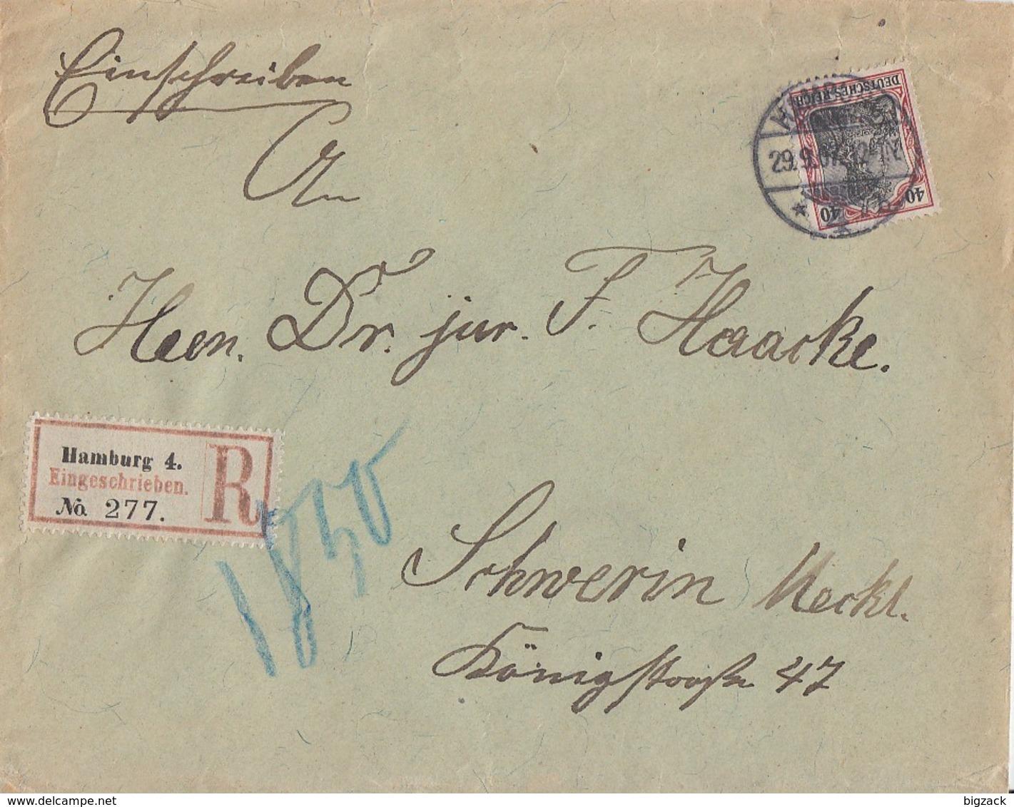 DR R-Brief Mif Minr.90I Hamburg 29.9.07 Gel. Nach Schwerin - Deutschland