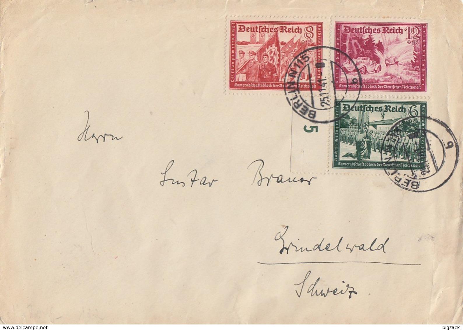 DR Brief Mif Minr.773,774,775 Berlin 25.11.41 Gel. In Schweiz Zensur - Deutschland