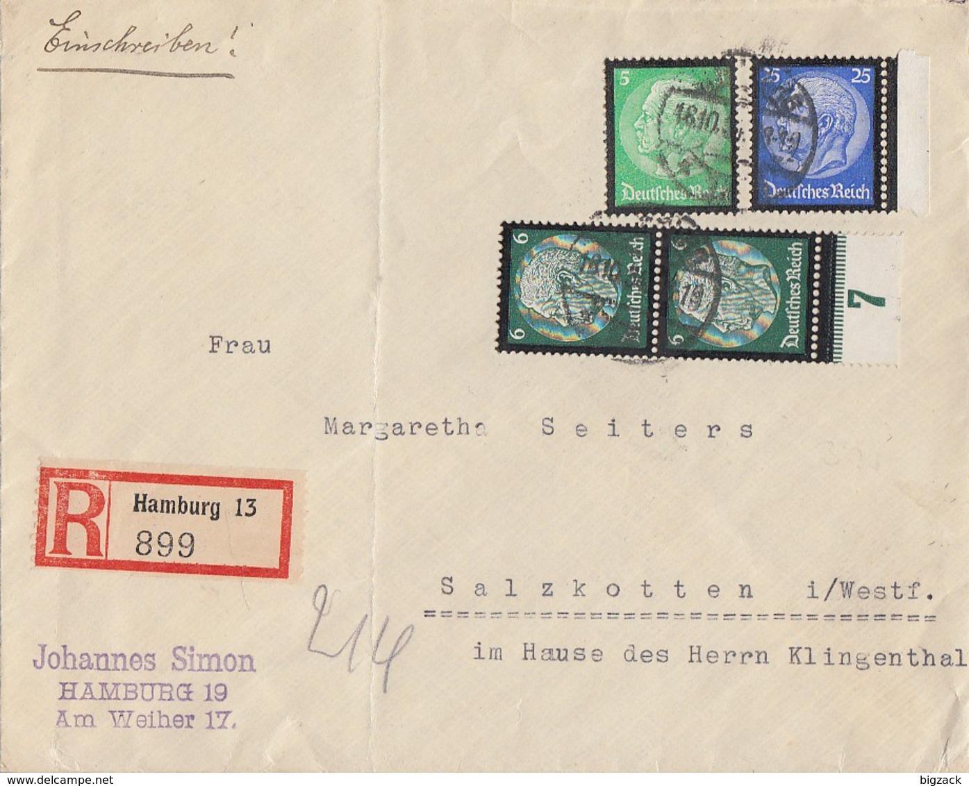 DR R-Brief Mif Minr.549, 2x 550 UR, 553 Hamburg 18.10.34 Gel. Nach Salzkotten - Briefe U. Dokumente