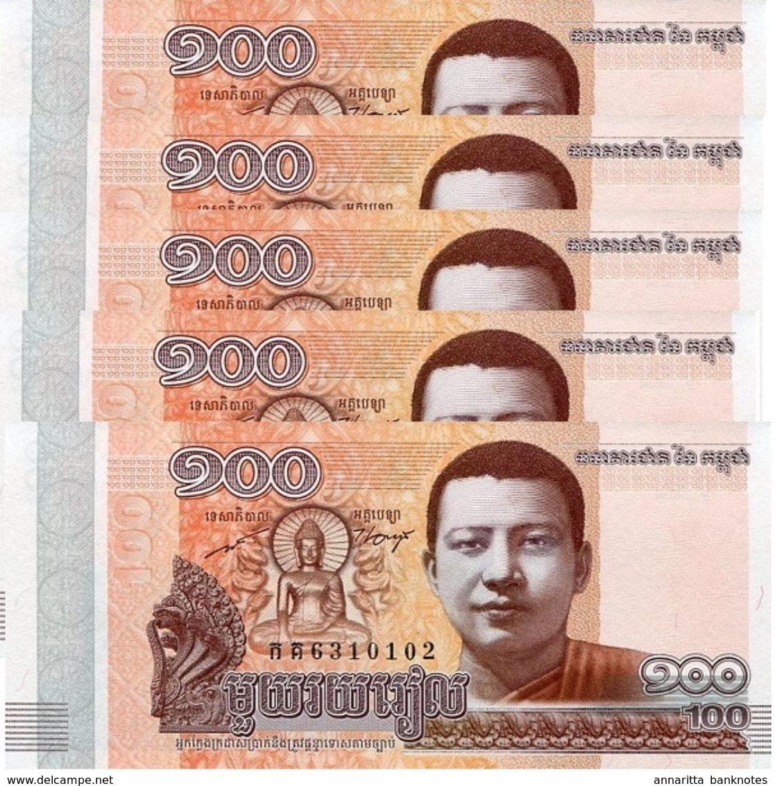 CAMBODIA 100 RIELS 2014 (2015) P-65a UNC 5 PCS [KH428a] - Cambodia