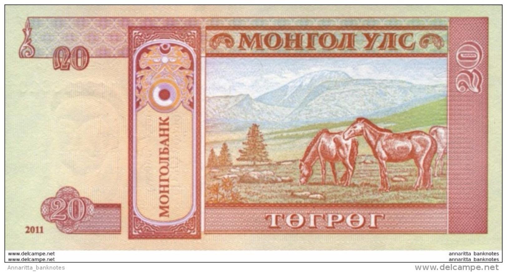 MONGOLIA 20 TÖGRÖG 2011 P-63f UNC [MN431b] - Mongolie