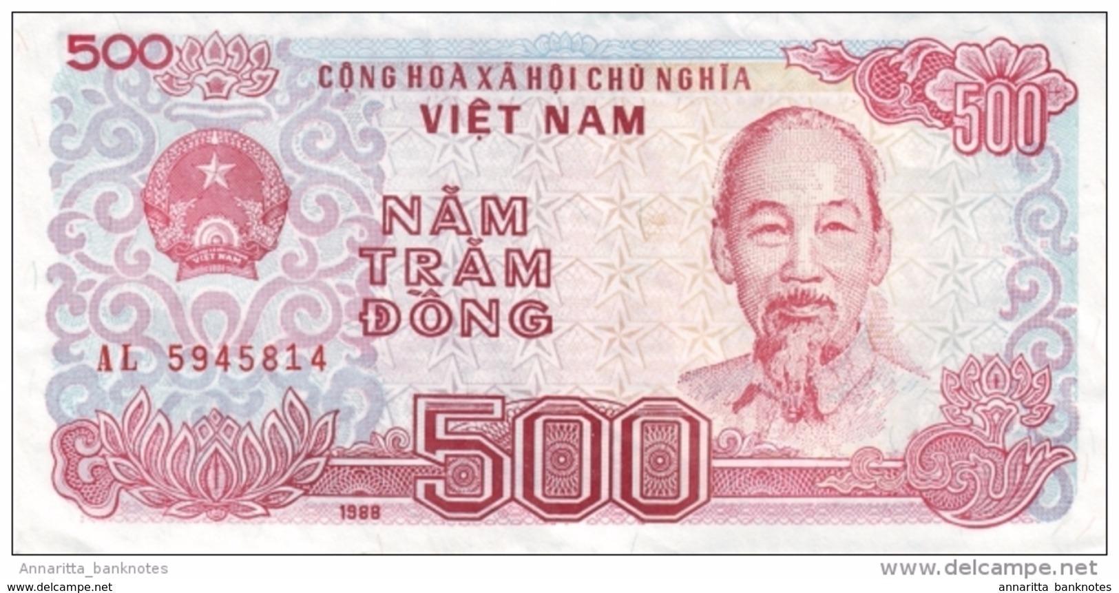 VIETNAM 500 ĐỒNG 1988 (1989) P-101a UNC SMALL S/N [VN329a] - Viêt-Nam