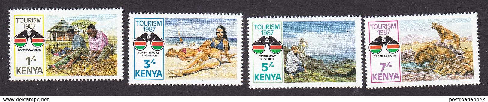 Kenya, Scott #398-401, Mint Hinged, Tourism, Issued 1987 - Kenya (1963-...)
