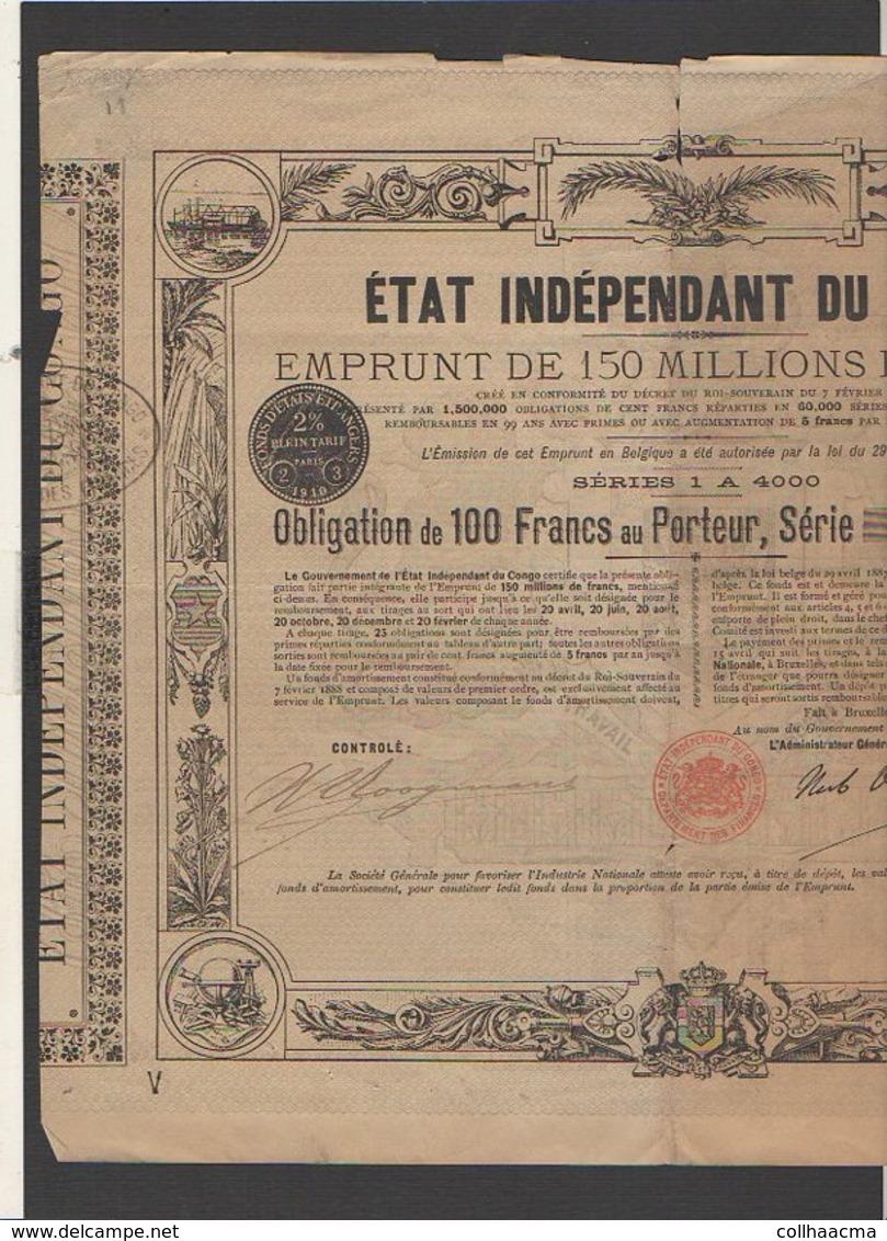 Action 1888 : Emprunt Etat Indépendant Du Congo : Obligation De 100 Francs Au Porteur - Afrique