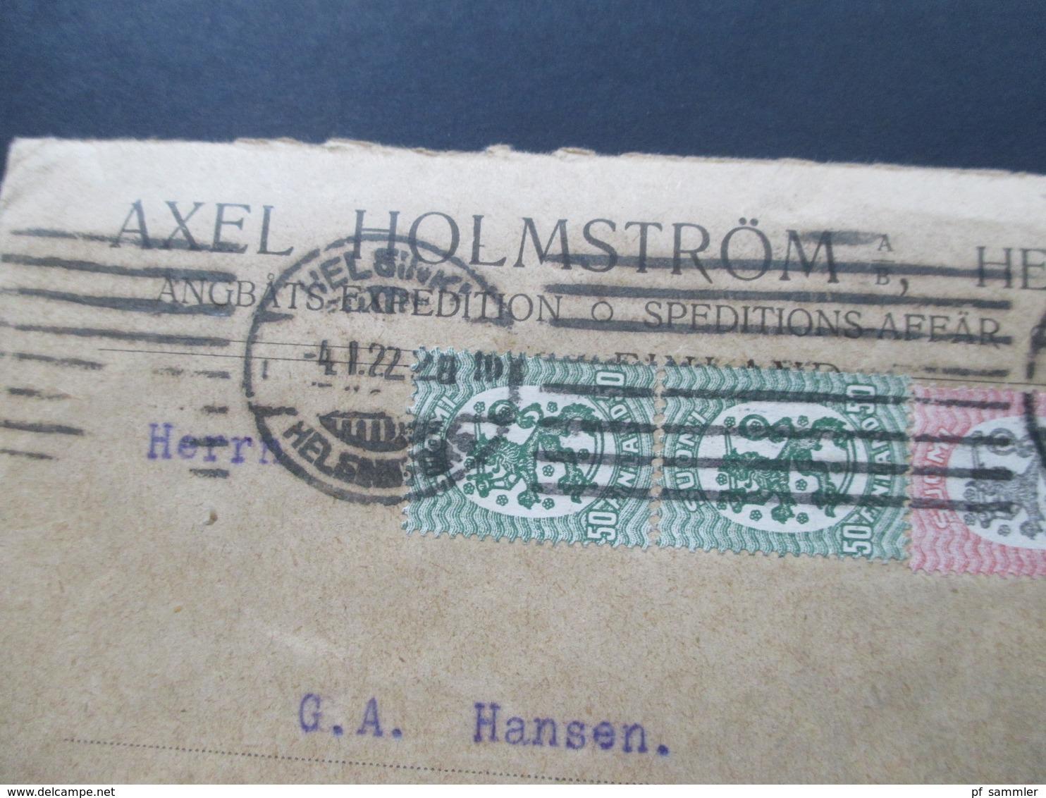 Finnland 1922 MiF Nr. 83 / 86 Freimarken Wappen Axel Holmström Helsingfors. Speditions Affär - Finland