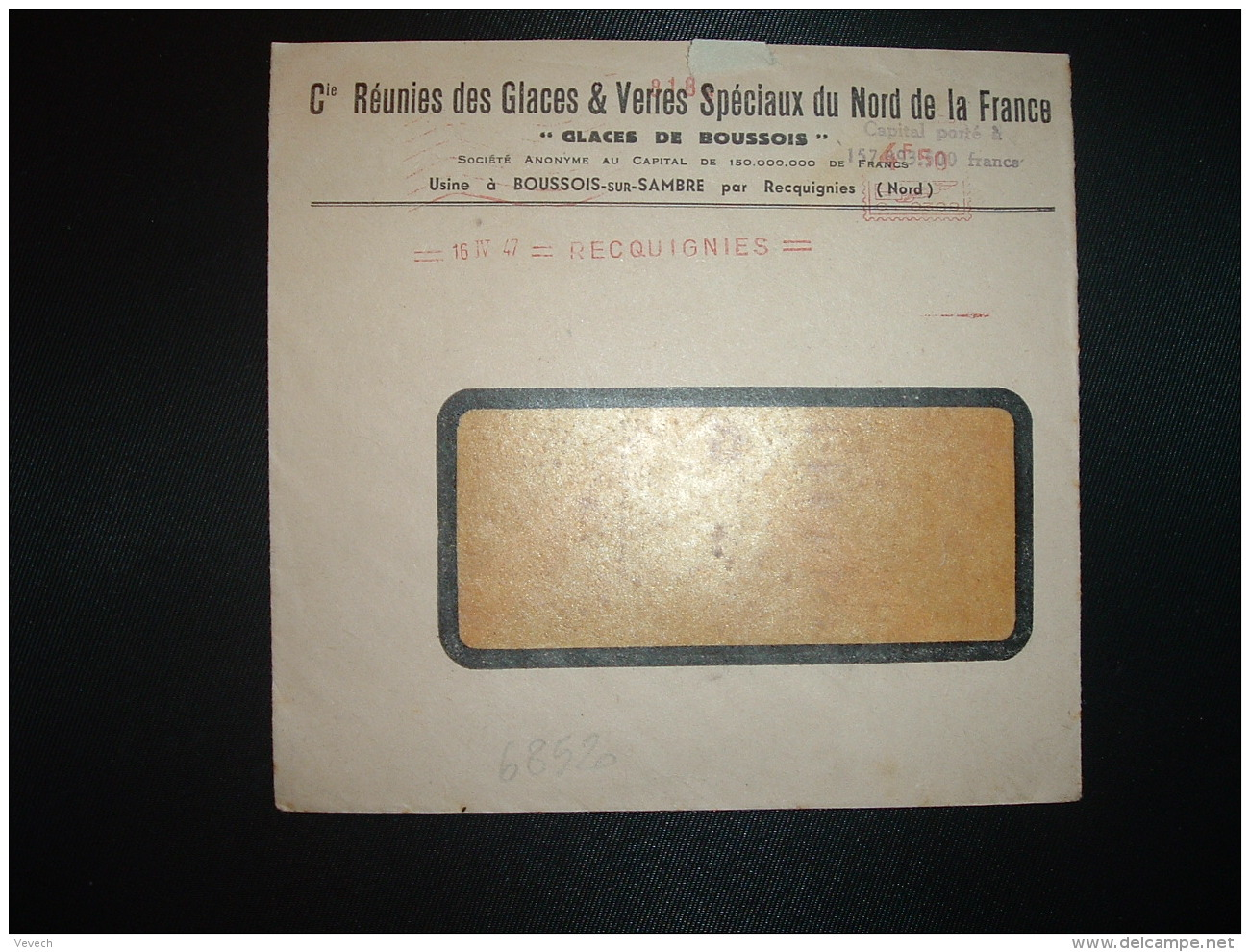 LETTRE EMA C. 0309 à 4F50 Du 16 IV 47 RECQUIGNIES (59) GLACES DE BOUSSOIS Cies Réunies Des Glaces & Verres Spéciaux  - Marcophilie (Lettres)